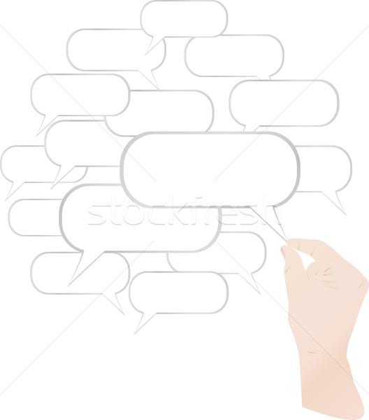 Képregény buborék kéz izolált fehér üzlet Stock fotó © fotoscool