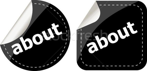 Fekete matricák szett ikon gomb háttér Stock fotó © fotoscool