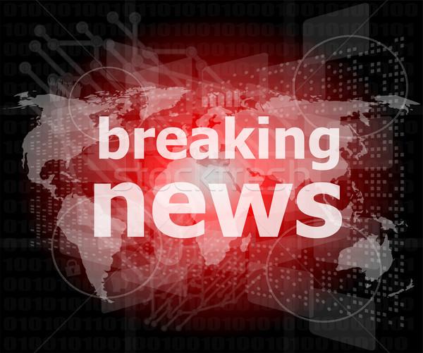 Hírek sajtó szavak rendkívüli hírek digitális képernyő Stock fotó © fotoscool