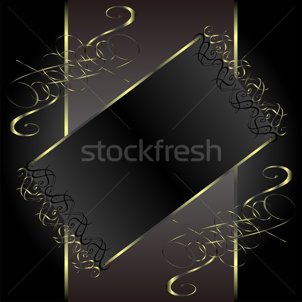 vector vintage gold floral frame with damask background Stock photo © fotoscool