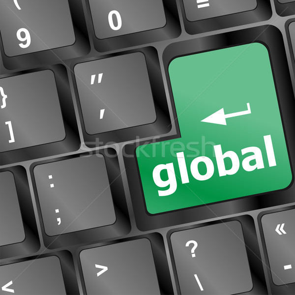 Global button on the keyboard - business concept Stock photo © fotoscool