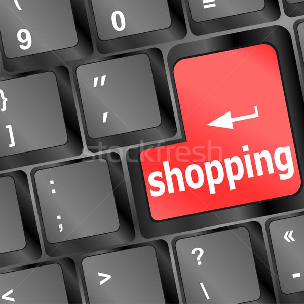 Speciaal toetsenbord Rood winkelen sleutel computer Stockfoto © fotoscool
