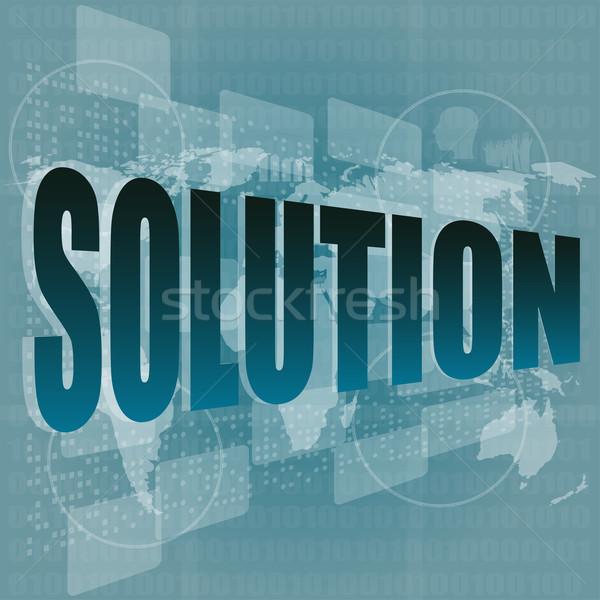 Megoldás szó gomb érintőképernyő interfész üzlet Stock fotó © fotoscool