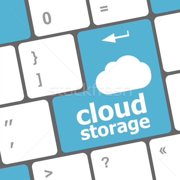 cloud storage words concept on blue button of the keyboard Stock photo © fotoscool