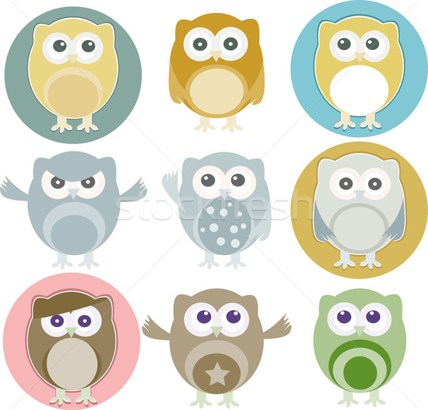 Vector illustration of colorful owls with nine color Stock photo © fotoscool