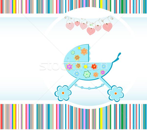 Baby jongen aankomst aankondiging kaart liefde Stockfoto © fotoscool
