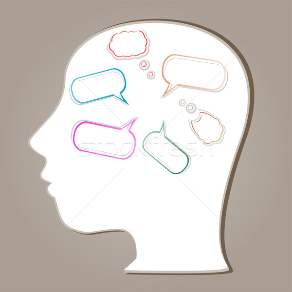 Abstract speaker silhouette with bubbles in the head Stock photo © fotoscool