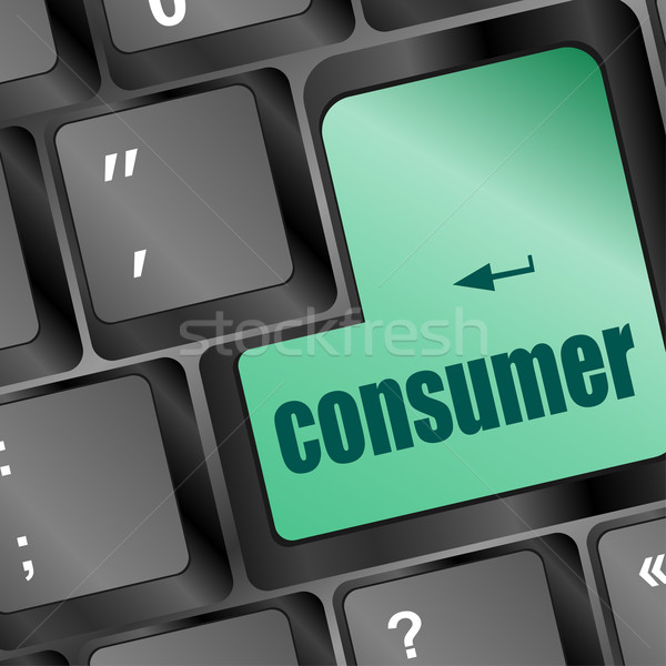 Consommateur mot bouton internet design Photo stock © fotoscool