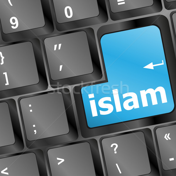 islam word on conputer key on enter button Stock photo © fotoscool