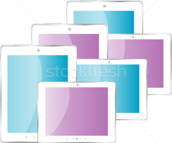 Black vector tablet pc set with multicolored screen Stock photo © fotoscool