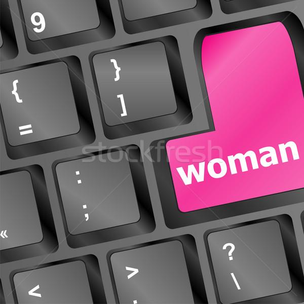 Kadın kelime klavye düğme bilgisayar el Stok fotoğraf © fotoscool
