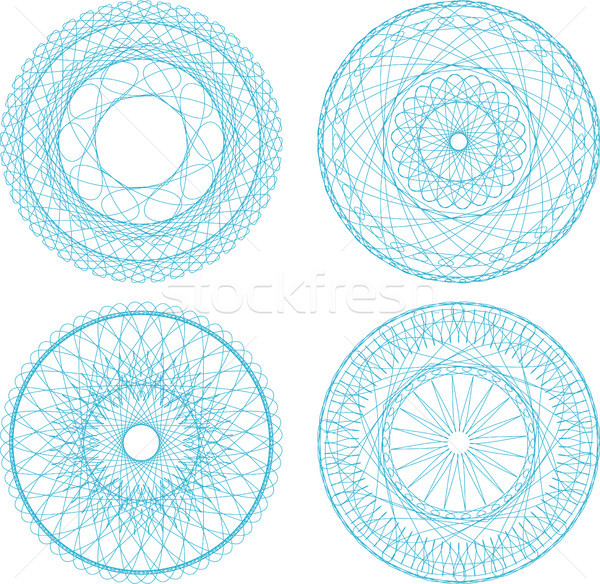 A set of guilloche blue seal, pattern for currency, certificate or diplomas Stock photo © fotoscool