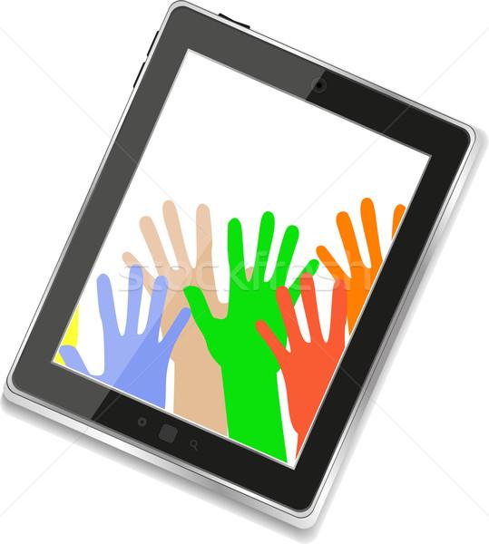 Digitális táblagép üzletember kezek izolált fehér Stock fotó © fotoscool