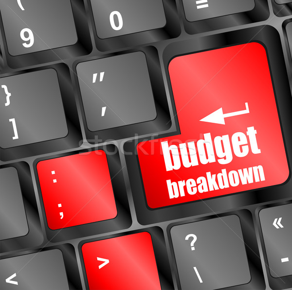 budget breakdown words on computer pc keyboard keys Stock photo © fotoscool