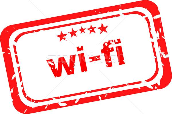 Grunge tekst wifi geïsoleerd witte Stockfoto © fotoscool