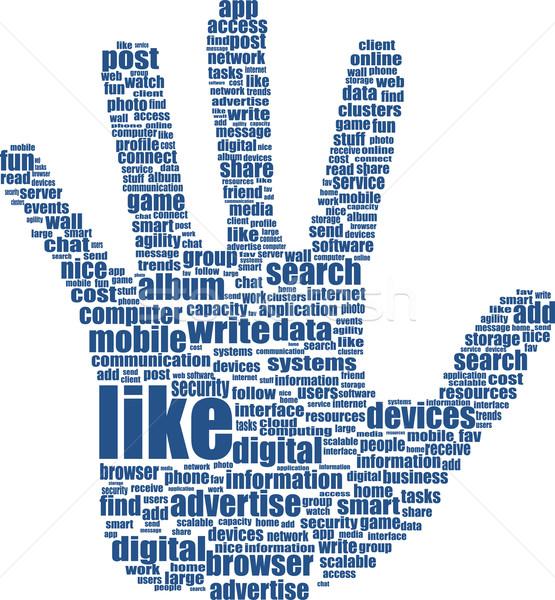 手 言葉の雲 タグ 雲 文字 ソーシャルメディア ストックフォト © fotoscool