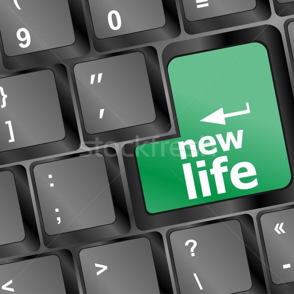 Fekete billentyűzet új élet szavak számítógép iroda Stock fotó © fotoscool
