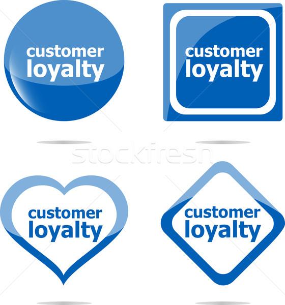 Klienta lojalność naklejki zestaw odizolowany biały Zdjęcia stock © fotoscool