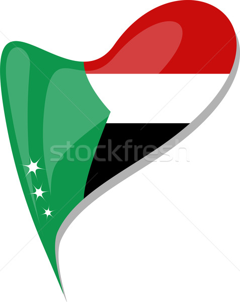 sudan in heart. Icon of sudan national flag. vector Stock photo © fotoscool