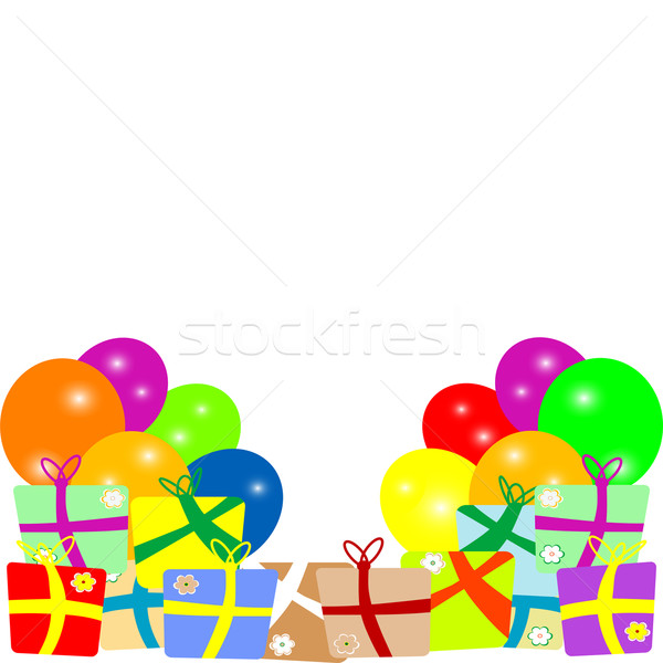 Card to birthday with balloons and gifts. vector Stock photo © fotoscool
