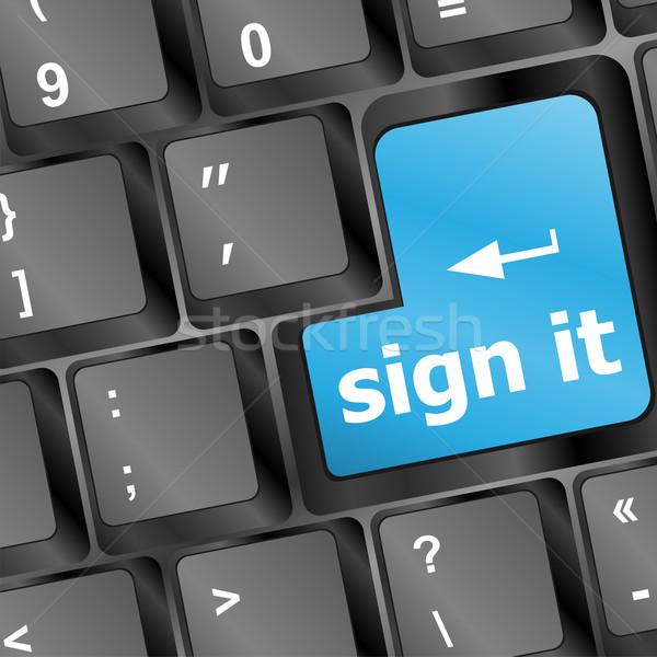 Signe s'identifier clé internet sécurité Photo stock © fotoscool
