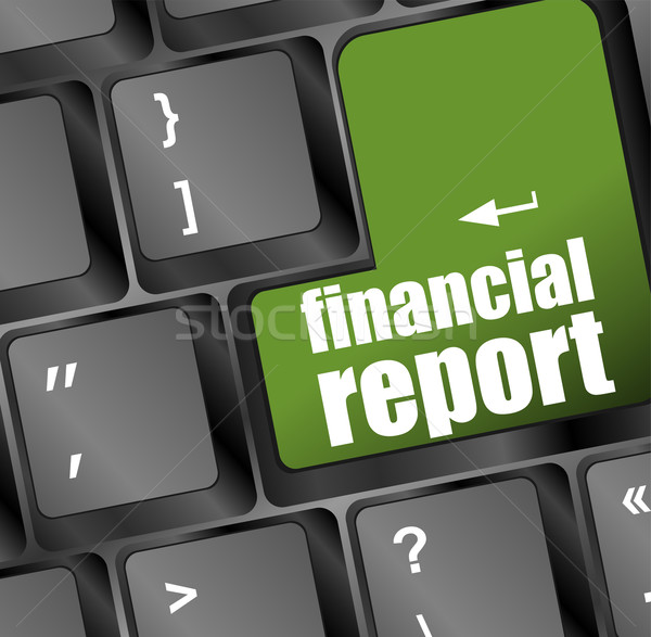 keyboard with green financial report button Stock photo © fotoscool