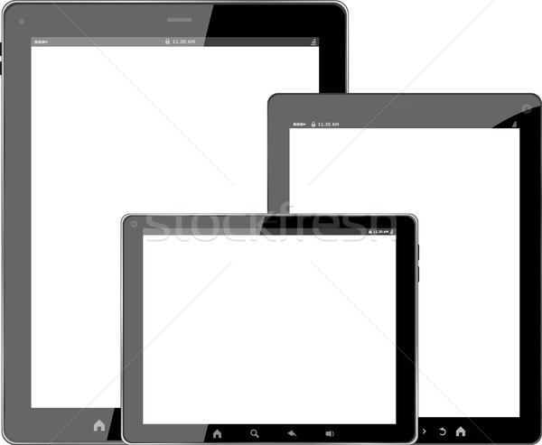 Táblagép számítógép szett izolált fehér üzlet Stock fotó © fotoscool