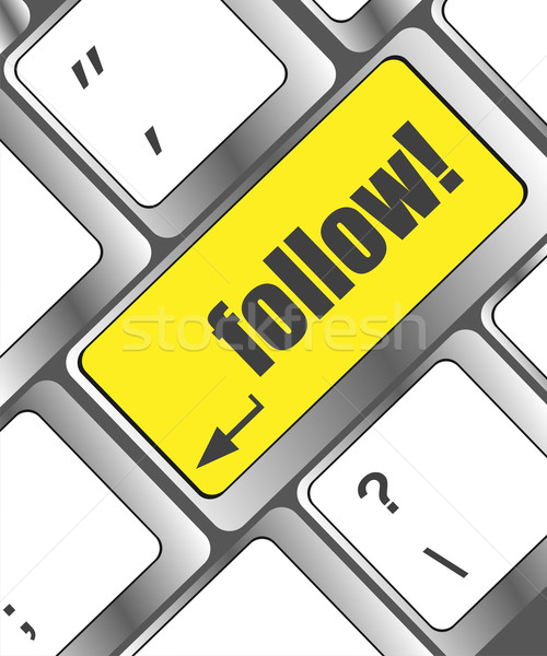 Social media or social network concept: Keyboard with follow button Stock photo © fotoscool