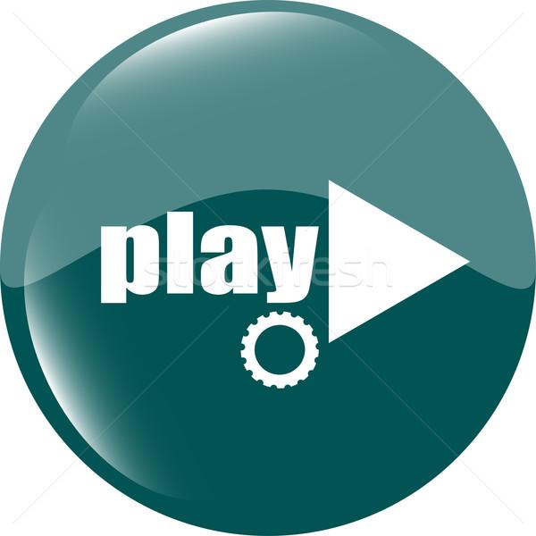 Video oynamak düğme ikon beyaz müzik Stok fotoğraf © fotoscool