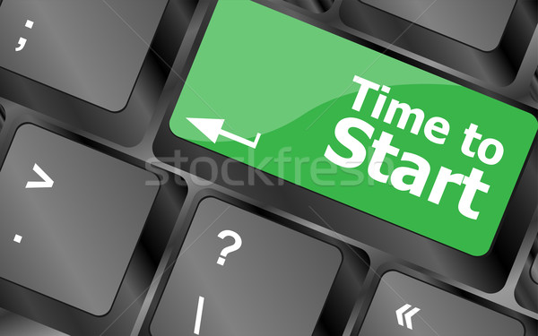 Time to start text button on keyboard keys Stock photo © fotoscool