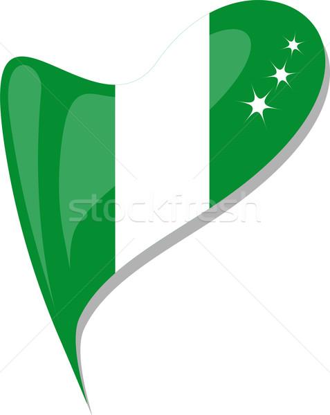 Nigeria serca ikona banderą wektora sztuki Zdjęcia stock © fotoscool