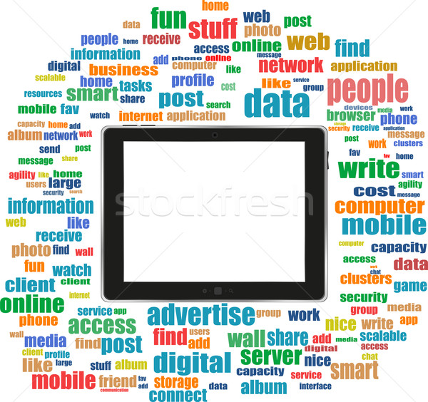 tablet pc in social media words, computer networks Stock photo © fotoscool