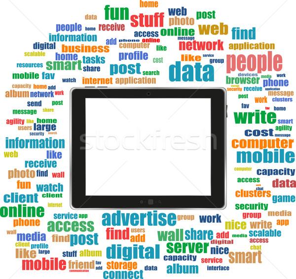 Social media słowa komputera sieci komunikacji Zdjęcia stock © fotoscool