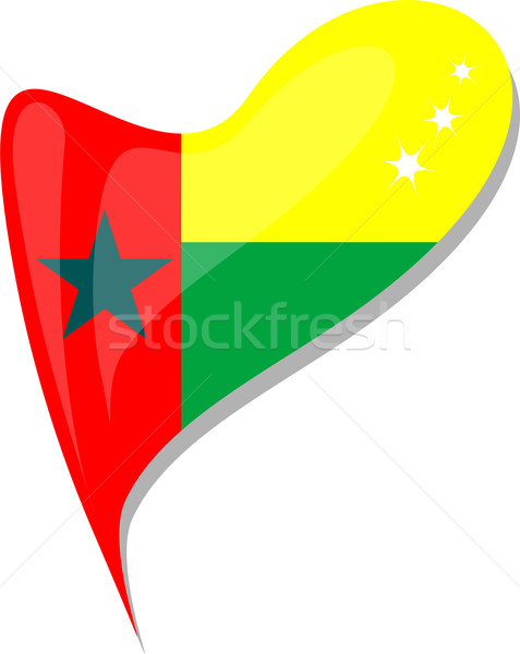 guinea bissau in heart. Icon of guinea bissau national flag Stock photo © fotoscool