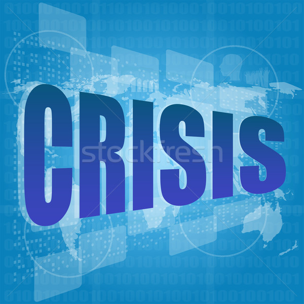 crisis word on digital screen with world map Stock photo © fotoscool