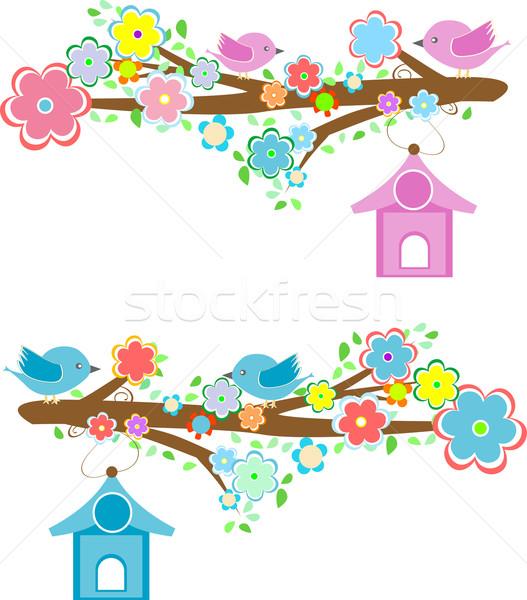 Kártyák párok madarak ül ágak fa Stock fotó © fotoscool