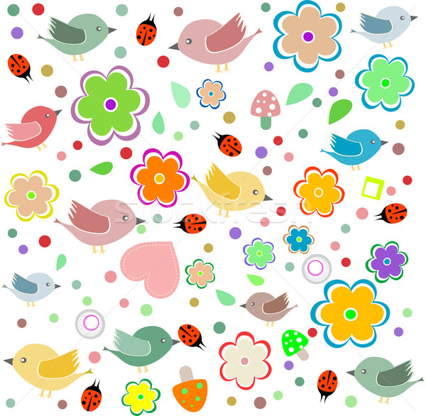 bird, ladybird and flower. happy birthday vector Stock photo © fotoscool