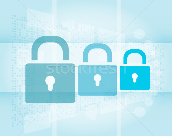 Security concept: Lock set on digital screen Stock photo © fotoscool