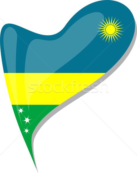 rwanda in heart. Icon of rwanda national flag. vector Stock photo © fotoscool