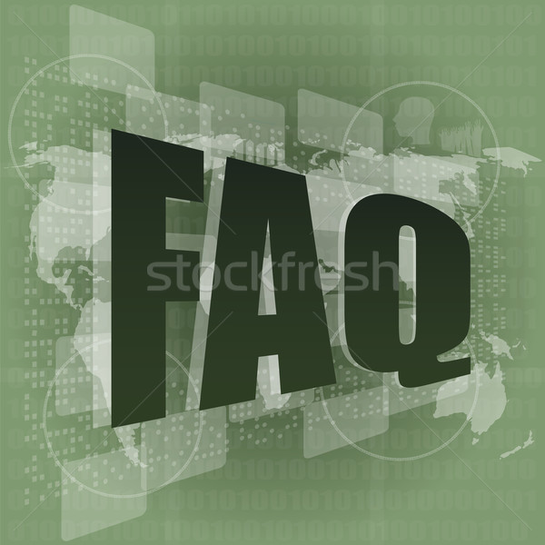 business concept: pixelated words faq on digital screen Stock photo © fotoscool