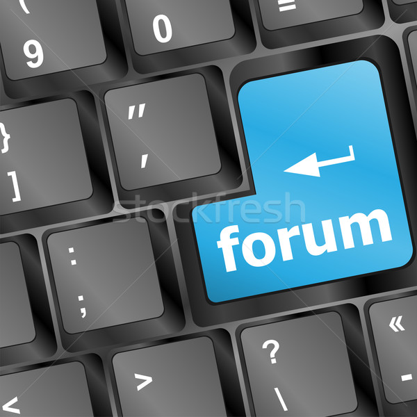 コンピュータのキーボード 青 キー フォーラム インターネット ビジネス ストックフォト © fotoscool