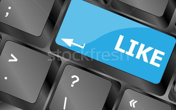 Zoals bericht toetsenbord sleutel social media Stockfoto © fotoscool