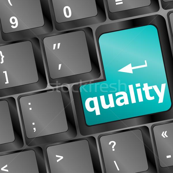 качество кнопки бизнеса компьютер Сток-фото © fotoscool