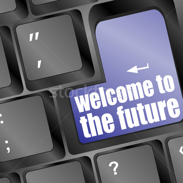 Social media key with welcome to the future text on laptop Stock photo © fotoscool