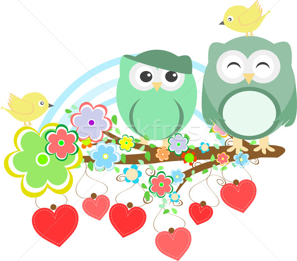Two cute owls and bird on the flower tree branch Stock photo © fotoscool