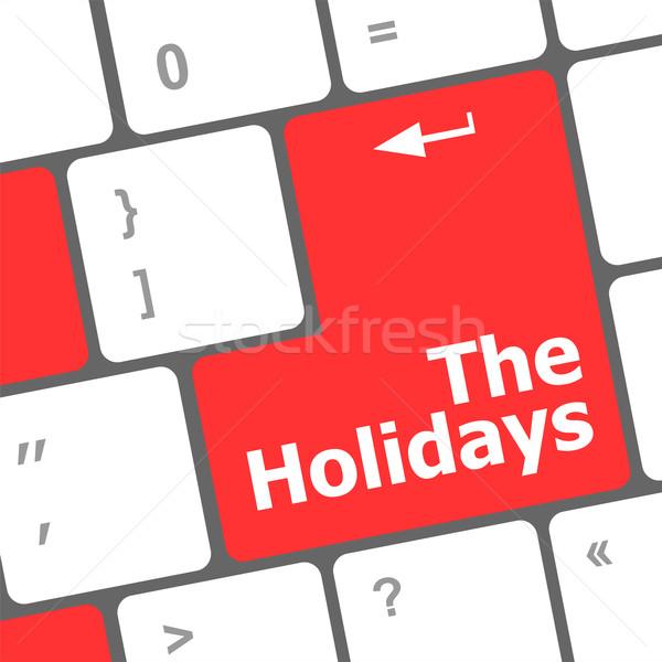 Vakantie knop moderne internet sleutel Stockfoto © fotoscool