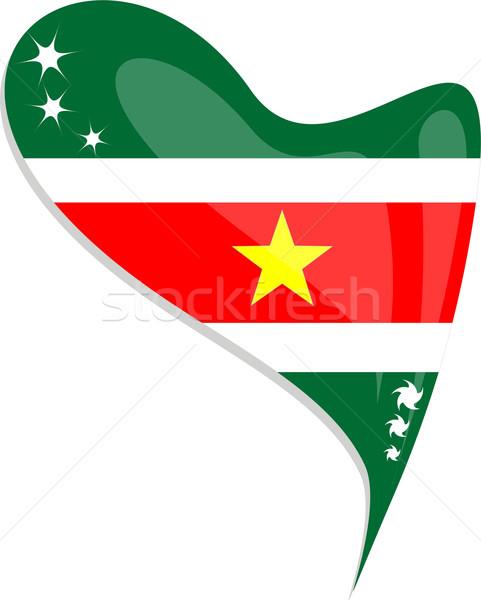 Суринам флаг кнопки формы сердца вектора икона Сток-фото © fotoscool