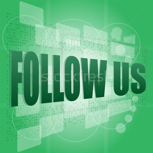 word follow us on digital background on digital screen Stock photo © fotoscool