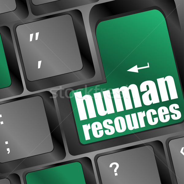 Stock photo: Human resources text on laptop keyboard