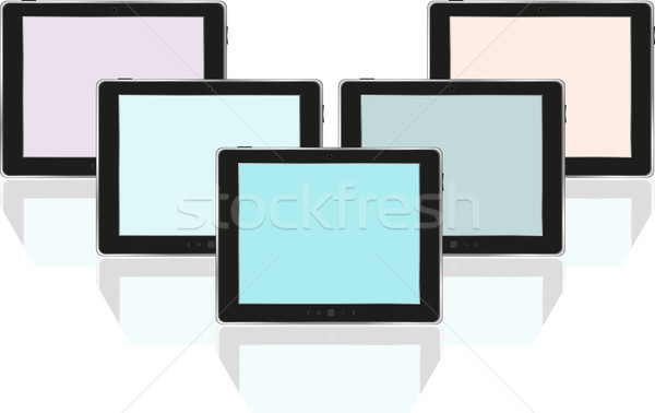 Set of digital tablets with colored screen isolated on white Stock photo © fotoscool